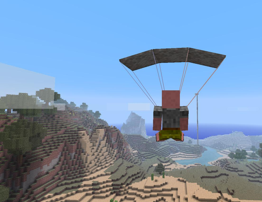 Мод на парашют - Parachute для minecraft 1.12.2 1.11.2 1.10.2 1.9.4 1.8.9 1.7.10 1.6.4 1.5.2