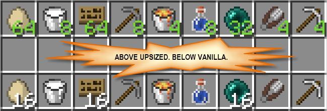 Мод на стаки для всех предметов Upsizer для minecraft 1.14.4, 1.12.2, 1.11.2
