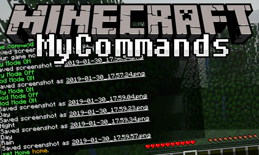 Мод Mycommands для minecraft 1.14.2, 1.12.2, 1.11.2, 1.10.2, 1.9.4, 1.7.10