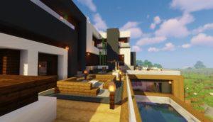 Современный дом с бассейном - карта для майнкрафт 1.14.4