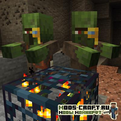 Мод Zombie Villagers From Spawner для майнкрафт 1.15.2, 1.14.4, 1.12.2
