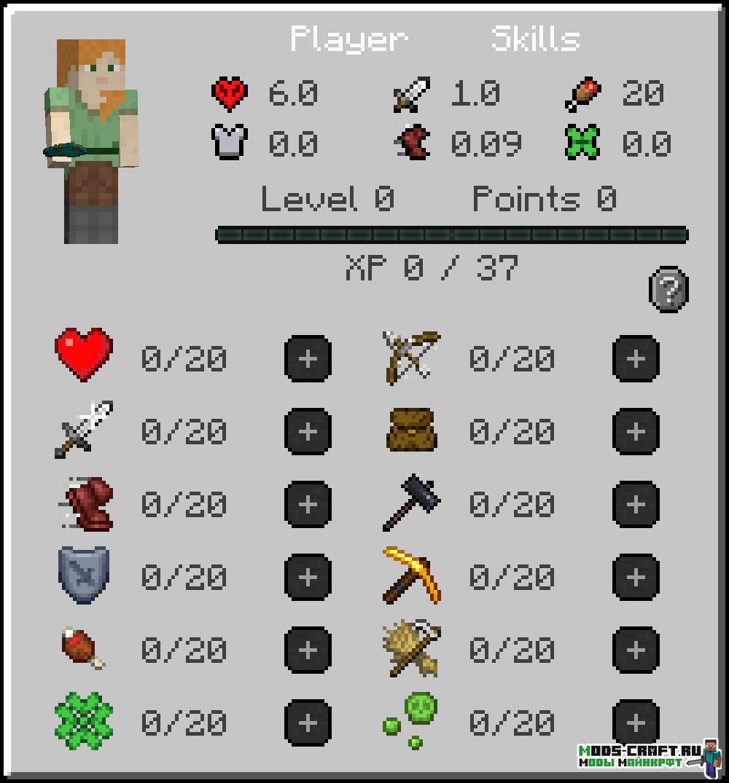 Мод LevelZ 1.17.1 (опыт и навыки)
