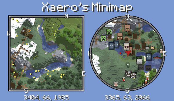Мод Xaero's Minimap 1.17.1, 1.16.5, 1.15.2, 1.12.2, 1.7.10